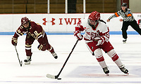 Boston, Massachusetts - October 28, 2017: NCAA Division I. Boston College (maroon) defeated Boston University (white), 4-3, at Walter Brown Arena.