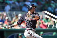 Atlanta Braves Jace Peterson (28) during a Spring Training game against the Boston Red Sox on March 17, 2015 at JetBlue Park at Fenway South in Fort Myers, Florida.  Atlanta defeated Boston 11-3.  (Mike Janes/Four Seam Images)