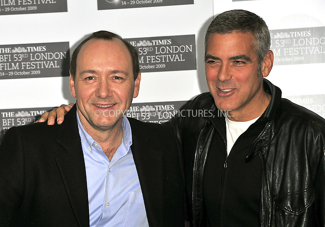 "WWW.ACEPIXS.COM . . . . .  ..... . . . . US SALES ONLY . . . . .....October 15 2009, London....Kevin Spacey and George Clooney at the photocall for ""Men Who Stare At Goats"" at The Times BFI London Film Festival - 15 October 2009....Please byline: FAMOUS-ACE PICTURES... . . . .  ....Ace Pictures, Inc:  ..tel: (212) 243 8787 or (646) 769 0430..e-mail: info@acepixs.com..web: http://www.acepixs.com"