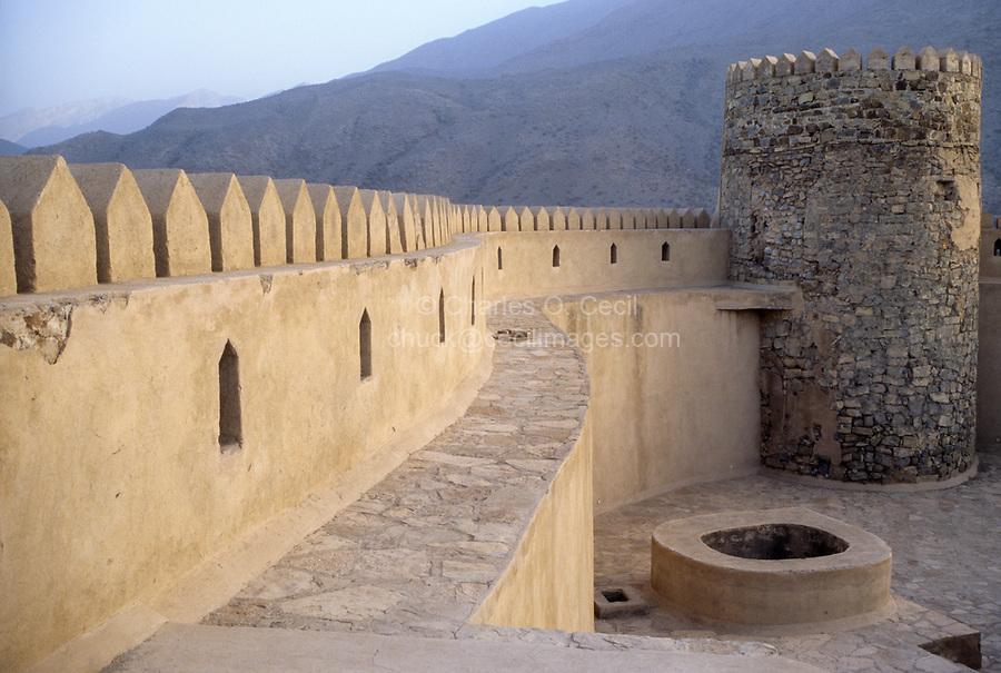 Rustaq, Oman.  Parapet along the Wall, interior Courtyard.