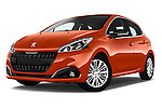Stock pictures of low aggressive front three quarter view of 2015 Peugeot 208 Allure 5 Door Hatchback Low Aggressive