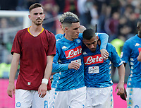Fabian Ruiz of Napoli Jose Callejon of Napoli Miguel Allan of Napoli  during the  italian serie a soccer match, AS Roma -  SSC Napoli       at  the Stadio Olimpico in Rome  Italy , March 31, 2019