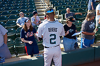 Salt River Rafters infielder Jose Devers (2), of the Miami Marlins organization, signs autographs before the Arizona Fall League Championship Game against the Surprise Saguaros on October 26, 2019 at Salt River Fields at Talking Stick in Scottsdale, Arizona. The Rafters defeated the Saguaros 5-1. (Zachary Lucy/Four Seam Images)