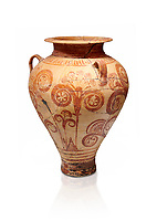 Minoan decorated pithos stirrup jar with floral design , Zafer Papoura 1400-1250 BC; Heraklion Archaeological Museum, white background