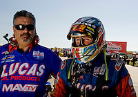 Sept. 5, 2010; Clermont, IN, USA; NHRA top fuel dragster driver Shawn Langdon (right) with crew member Joe Barlam during qualifying for the U.S. Nationals at O'Reilly Raceway Park at Indianapolis. Mandatory Credit: Mark J. Rebilas-