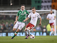 06/10/2016; 2018 FIFA World Cup Qualifier Republic of Ireland vs Georgia; Aviva Stadium, Dublin<br /> Georgia&rsquo;s Jano Ananidze with Robbie Brady of Ireland.<br /> Photo Credit: actionshots.ie/Tommy Grealy