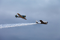 Silver T-28A Trojan US Fighter Aircraft, Arlington Fly-In 2015, WA, USA.