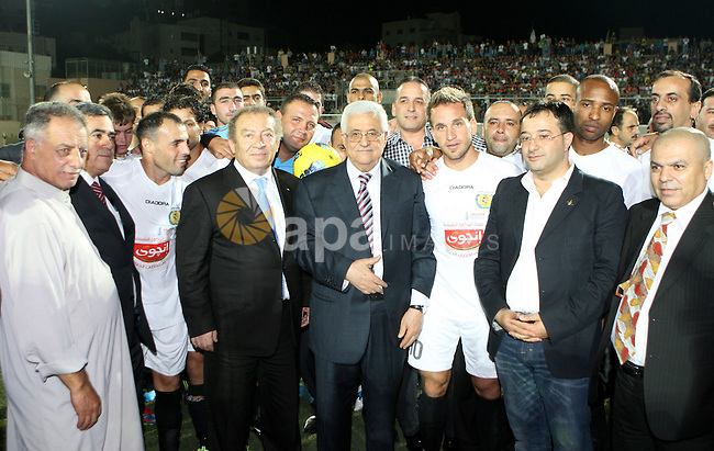 Palestinian President, Mahmoud Abbas (Abu Mazen), visits sports stadium in the West Bank city of Hebron on, Aug. 01, 2012. Photo by Thaer Ganaim