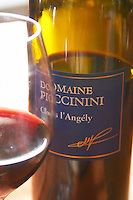 Clos l'Angely red. Domaine Piccinini in La Liviniere Minervois. Languedoc. France. Europe. Bottle. Wine glass.
