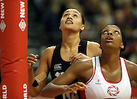 25.10.2012 Silver Ferns Maria Tutaia and England's Eboni Beckford-Chambers in action during the Silver Ferns v England netball test match as part of the Quad Series played at the TSB Arena Wellington. Mandatory Photo Credit ©Michael Bradley.