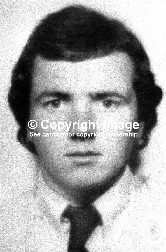 Seamus Gilmore, 18 years, Roman Catholic, from Rosscoole Park, North Belfast, who was shot dead by 3 UVF gunmen at the Mount Pleasant filling station on the Ballysillan Road where he worked. 197302040069a.<br />