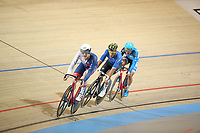 Picture by SWpix.com - 02/03/2018 - Cycling - 2018 UCI Track Cycling World Championships, Day 3 - Omnisport, Apeldoorn, Netherlands - Men's Points Race - Mark Stewart of Great Britain, Liam Bertazzo of Italy and King Lok Cheung of Hong Kong