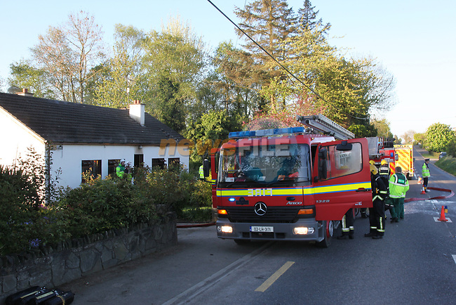 Fire fighters from Ardee and Dundalk Fire Service attended the scene of a fatal house fire on the Ardee to Dundalk road shortly after 6 a Monday Morning, One Unit from Ardee and three units from Dundalk Attended the fire. The single occupant was pernounced dead at the scene..Pic Fran Caffrey/Newsfile.ie