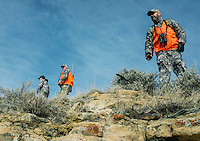 Hunting white tail deer with Jake Jacobs (cq), Richard Watkins (cq), a guide with Trophies Plus Outfitters and John Taranto, a writer with Outdoor Life Magazine at Trope Ranch near Hullett, Wyoming, Wednesday, November 7, 2012.<br /> <br /> <br /> Photo by Matt Nager