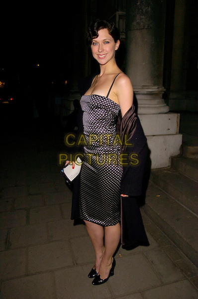 MARGOT STILLEY.The COS store & collection launch party, Royal Academy of Arts, London, UK..March 14th, 2007.full length margo stilly black white purple polka dot dress wrap shawl .CAP/CAN.©Can Nguyen/Capital Pictures