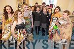 Showing their designs for the national Junk Kouture competition were xstudents from Gaelcolaiste Chiarrai on Thursday. Pictured in their designs were: Laura Ní Dhrisceoil, Jane Daltuin, Cian Quirke, Rhian Ní Shuilleabhain and Risteard Ó'Riagáin. Pictured in the group at the back were: Gearóid Ó'Gealbháin, Aishling Ní Chonaill, Jennifer Ní Mhuircheartaigh, Anna Ní Loinsigh, Megan Nic Ionrachtaigh, Jack Cotter, Shane Ó'Suilleabhain, Muireann Ní Mhathúna and Sean Ó'Godáin. .