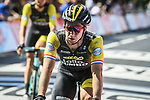 Dylan Groenewegen (NED) Team LottoNL-Jumbo crosses the finish line at the end of Stage 9 of the 2018 Tour de France running 156.5km from Arras Citadelle to Roubaix, France. 15th July 2018. <br /> Picture: ASO/Pauline Ballet | Cyclefile<br /> All photos usage must carry mandatory copyright credit (&copy; Cyclefile | ASO/Pauline Ballet)