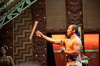 Maori Man Performing at Te Puia Moari Village, Rotorua, North Island, New Zealand