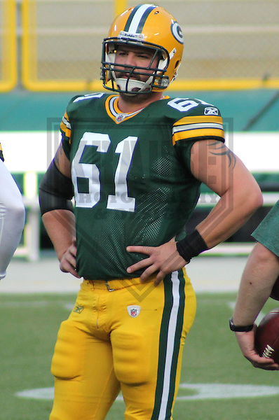 GREEN BAY - SEPTEMBER 2011: Brett Goode (61) of the Green Bay Packers during a game on September 1, 2011 at Lambeau Field in Green Bay, Wisconsin. (Photo by Brad Krause)