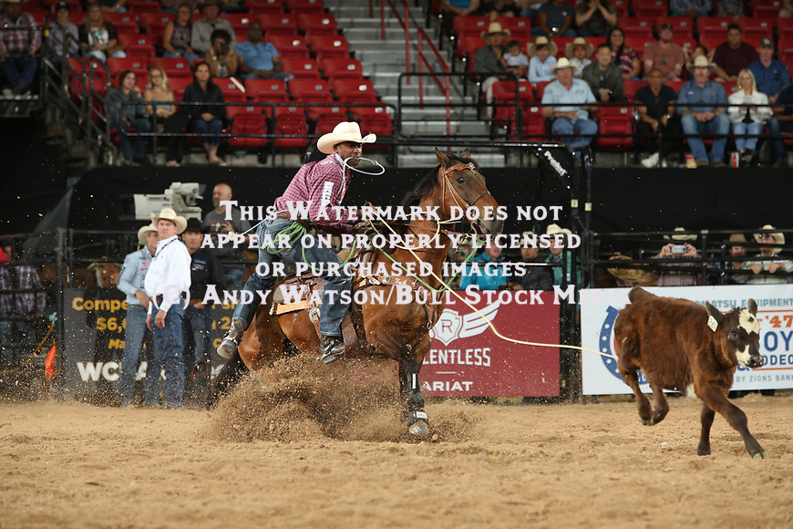 Cory Solomon for 9.81 during the first round of the Las Vegas WCRA rodeo. Photo by Andy Watson