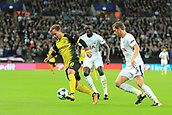 13th September 2017, Wembley Stadium, London, England; Champions League Group stage, Tottenham Hotspur versus Borussia Dortmund; Mario Gotze of Borussia Dortmund takes on Jan Vertonghen of Tottenham Hotspur