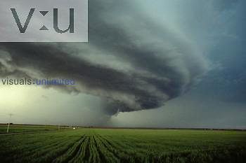 High percipitation supercell with green wheat. Southwest Oklahoma