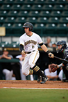 Bradenton Marauders right fielder Kevin Krause (6) follows through on a swing during the second game of a doubleheader against the Tampa Yankees on June 14, 2017 at LECOM Park in Bradenton, Florida.  Tampa defeated Bradenton 5-1.  (Mike Janes/Four Seam Images)