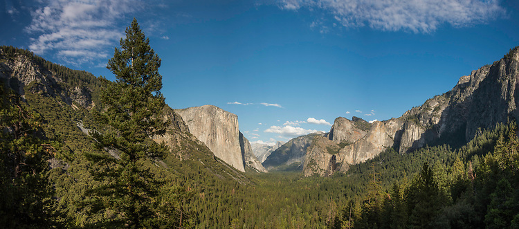 September 2014 / Yosemite National Park landscapes / Tunnel View showing El Capitan on left, Clouds Rest and Half Dome at far center, and Cathedral Rocks (Spires) at right.  Senitnal Dome came be seen just above the centermost spire / Photo by Bob Laramie