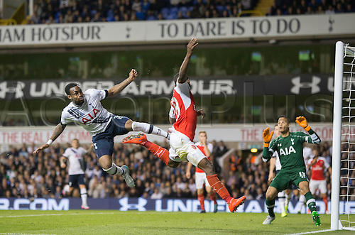 23.09.2015. London, England. Capital One Cup. Tottenham Hotspur versus Arsenal. Tottenham Hotspur's Danny Rose with another high challenge to clear the ball.