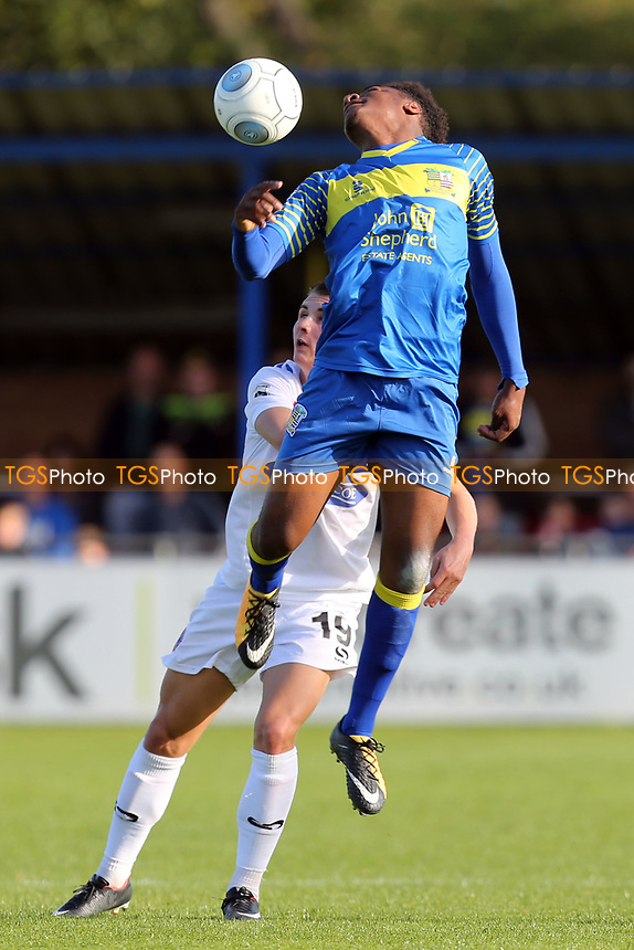 Oladapo Afolayan of Solihull Moors and Sam Ling of Dagenham during Solihull Moors vs Dagenham & Redbridge, Vanarama National League Football at the Autotech Stadium on 23rd September 2017