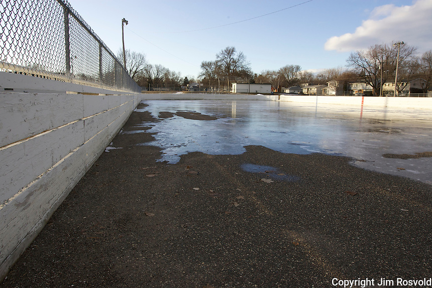 7 Jan 12: Mild weather takes it's toll on a rink at Harmon Park in West St. Paul, MN.