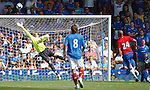 Frederic Piquionne loops a header over Allan McGregor to score for Portsmouth