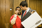 Erick Daniels and his attorney Carlos Mahoney following the decision by Durham Superior Court Judge Orlando Hudson to dismissed all charges against Daniels, who has served seven years in prison for a robbery he did not commit, Friday, Sept. 19, 2008..