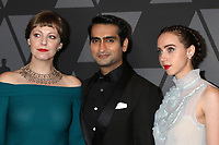 HOLLYWOOD, CA - NOVEMBER 11: Emily V Gordon, Kumail Nanjiani, Zoe Kazan at the AMPAS 9th Annual Governors Awards at the Dolby Ballroom in Hollywood, California on November 11, 2017. Credit: David Edwards/MediaPunch /NortePhoto.com
