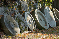 DEU, Deutschland, Bayern, Niederbayern, Naturpark Bayerischer Wald, bei Tittling: Museumsdorf Bayerischer Wald, Muehlsteine | DEU, Germany, Bavaria, Lower-Bavaria, Nature Park Bavarian Forest, near Tittling: village museum Bavarian Forest, mill stones