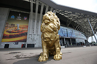 16th May 2018, Stade de Lyon, Lyon, France; Europa League football final, Marseille versus Atletico Madrid; A lion statue outside of the stadium before fans arrival