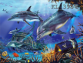 Interlitho, Lorenzo, REALISTIC ANIMALS, paintings, dolphins, treasure(KL3954,#A#) realistische Tiere, realista, illustrations, pinturas ,puzzles