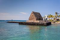 Ahu'ena Heiau at Kamakahonu Bay, residence of King Kamehameha I, Kailua-Kona, Big Island.