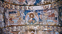 Pictures &amp; images of the interior frescoes on the barrel vaulted roof of of Ubisa St. George Georgian Orthodox medieval monastery, Georgia (country)<br /> <br /> The 14th century lavish interior frescoes were painted by Gerasim in a local style known as Palaeologus  following Byzantine influences.