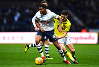 Preston North End's Lukas Nmecha vies for possession with  Blackburn Rovers' Joe Rothwell<br /> <br /> Photographer Richard Martin-Roberts/CameraSport<br /> <br /> The EFL Sky Bet Championship - Preston North End v Blackburn Rovers - Saturday 24th November 2018 - Deepdale Stadium - Preston<br /> <br /> World Copyright © 2018 CameraSport. All rights reserved. 43 Linden Ave. Countesthorpe. Leicester. England. LE8 5PG - Tel: +44 (0) 116 277 4147 - admin@camerasport.com - www.camerasport.com