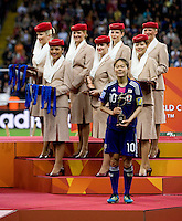 Homare Sawa.  Japan won the FIFA Women's World Cup on penalty kicks after tying the United States, 2-2, in extra time at FIFA Women's World Cup Stadium in Frankfurt Germany.