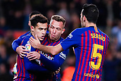 30th January 2019, Camp Nou, Barcelona, Spain; Copa del Rey football, quarter final, second leg, Barcelona versus Sevilla; Philippe Coutinho, Arthur Melo and Sergi Busquets of FC Barcelona celebrates scoring the opening goal for 1-0 in the 13th minute