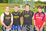 The top four in the hammer l-r: Shane Hand 2nd, Denis Hayes 4th, Daniel Clifford 1st Farranfore/Maine Valley and Micha?el O'Neill Gneeveguilla 3rd  in the Junior and Master Athletic championships at An Riocht, Castleisland on Wednesday evening.