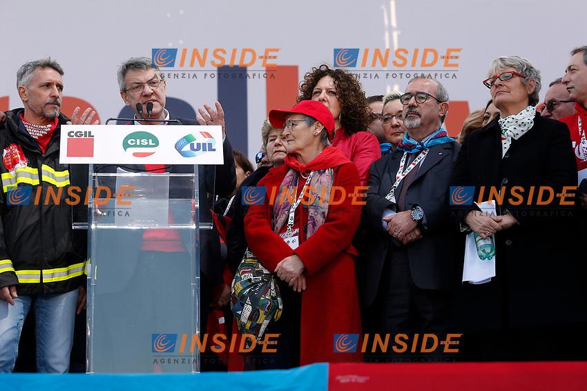Carmelo Barbagallo, Annamaria Furlan e Maurizio Landini<br /> Rome February 9th 2019. Demonstration of the three Italian trade unions, CGIL, CISL, UIL.<br /> Foto Samantha Zucchi Insidefoto