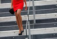 Una hostess scende le scale del Campo Centrale del Foro Italico durante gli Internazionali d'Italia di tennis, a Roma, 14 maggio 2015.<br /> A hostess goes downstairs at the Foro Italico's Central Court during the italian Masters tennis in Rome, 14 May 2015.<br /> UPDATE IMAGES PRESS/Riccardo De Luca