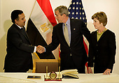 United States U.S. President George W. Bush and First Lady Laura visited the Egyptian embassy greeting ambassador Nabil Fahmy and signing a book of condolence for the weekend bombing in Egypt's Red Sea resort town of Sharm el-Sheik.<br /> Credit: Jay L. Clendenin / Pool via CNP