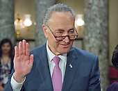 United States Senator Chuck Schumer (Democrat of New York), takes the oath of office during a mock swearing-in ceremony in the Old US Senate Chamber of the US Capitol in Washington, DC on Tuesday, January 3, 2017.  <br /> Credit: Ron Sachs / CNP<br /> (RESTRICTION: NO New York or New Jersey Newspapers or newspapers within a 75 mile radius of New York City)