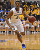 Eli Pemberton #5 of Hofstra University dribbles downcourt during the second half of a CAA men's basketball game against the College of Charleston at Mack Sports Complex in Hempstead on Saturday, Feb. 3, 2018. Hofstra lost by a score of 86-85.