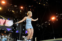 BRIGHTON, ENGLAND - AUGUST 5: Raye performing at Brighton and Hove Pride, Preston Park on August 5, 2018 in Brighton, England.<br /> CAP/MAR<br /> &copy;MAR/Capital Pictures