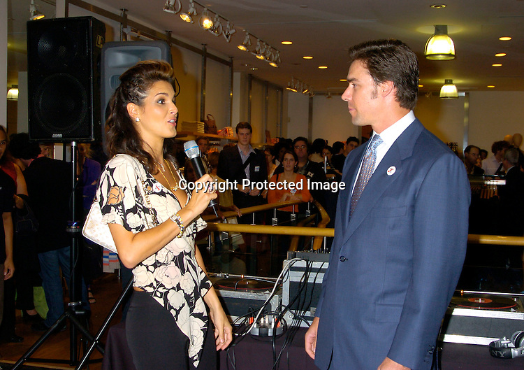 "Angie Harmon and Jason Sehorn ..at The French Connection  and Rock The Vote for a ""Fcuk You, I'm Voting Party on August 31, 2004 in New York City. ..Photo by Robin Platzer, Twin Images"